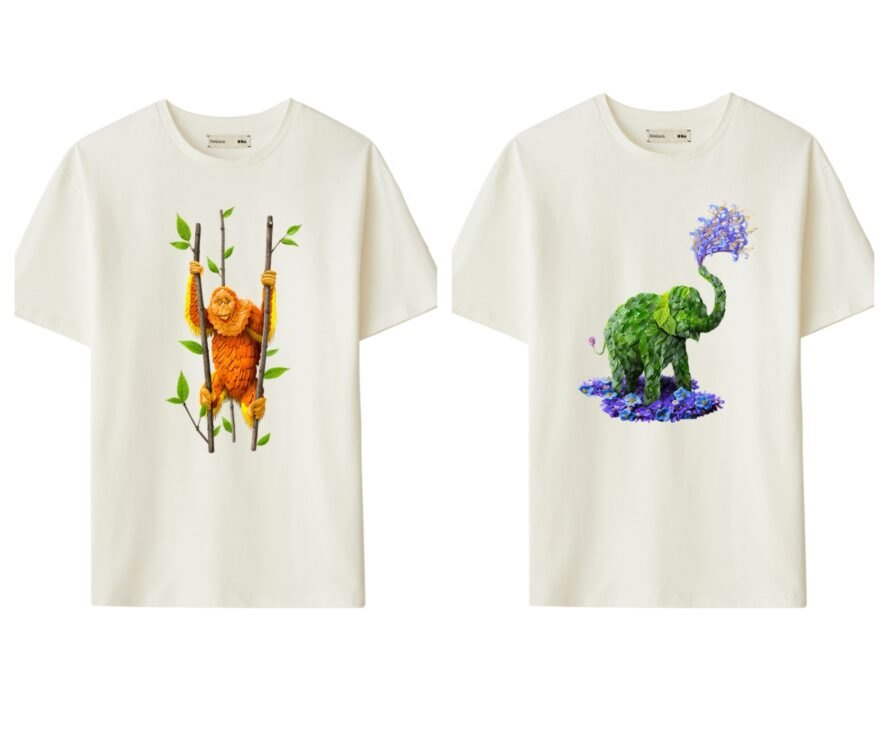 two white T-shirts with endangered species graphics