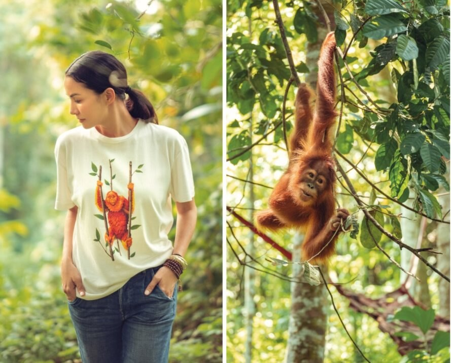 woman posing in T-shirt with Orangutan graphic and a separate image of an orangutan