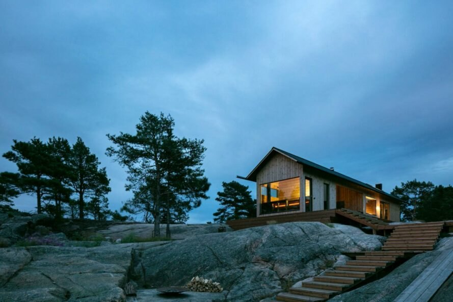 wood gabled cabin on a hill