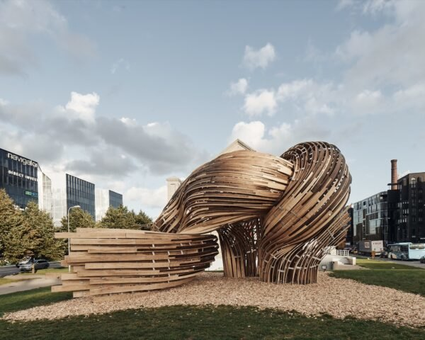 bent timber turned into an installation