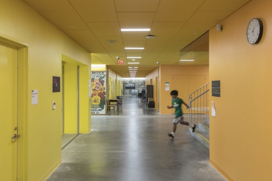 hallway with yellow walls