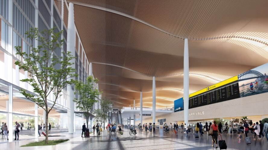 rendering of airport terminal with wavy ceiling and several trees