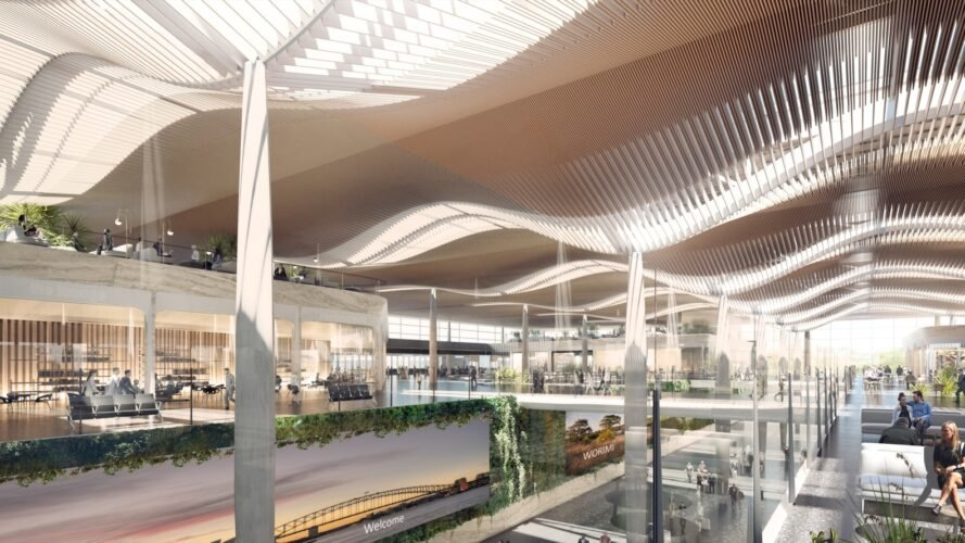 rendering of airport with green wall and wavy ceilings