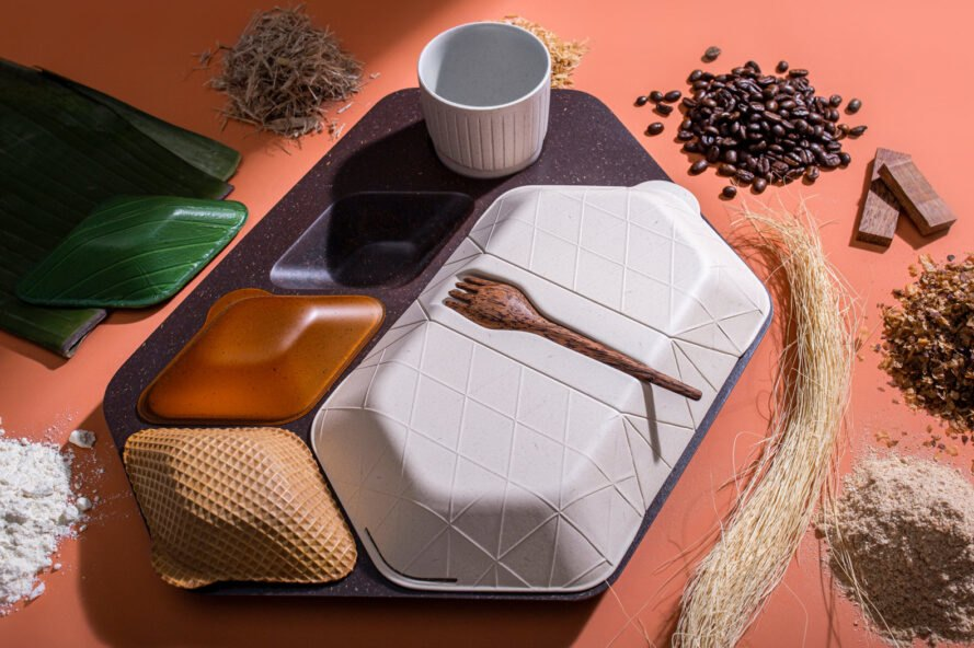 airplane food tray surrounded by raw natural materials
