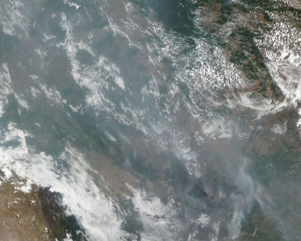 aerial view of fires in the Amazon rainforest