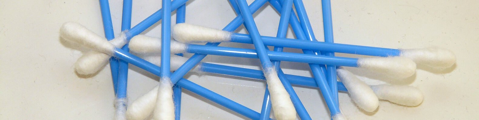cotton swabs with blue plastic stems