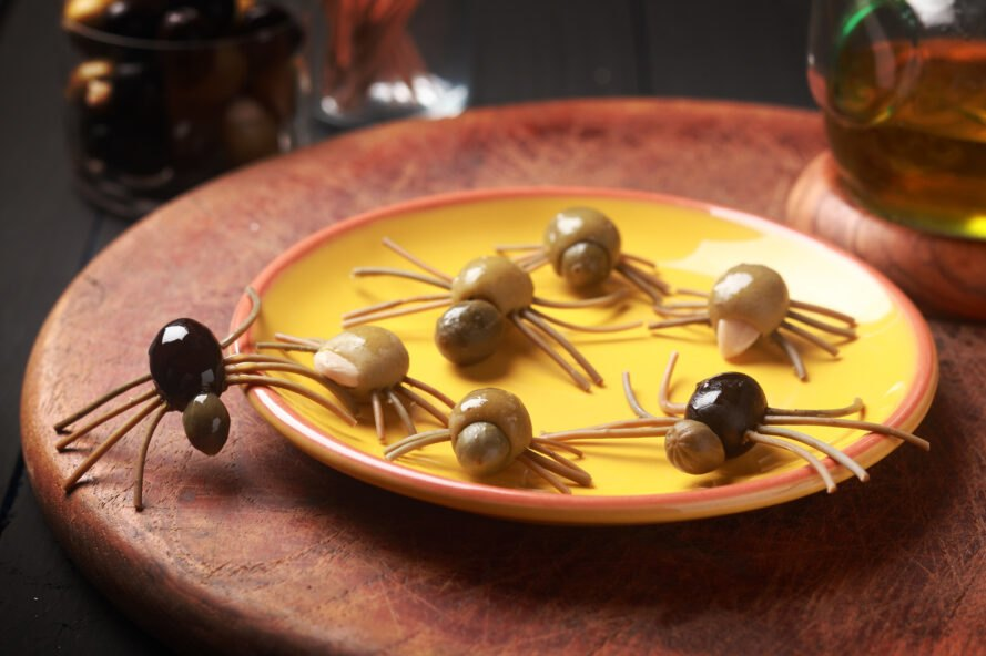 spiders made out of olives