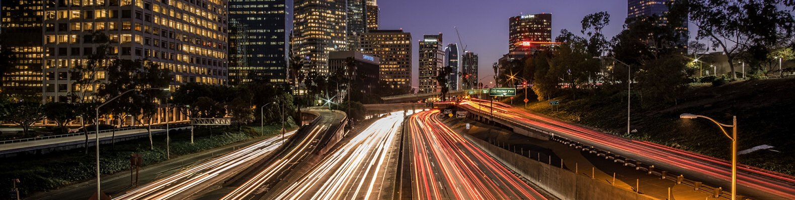aerial view of busy Los Angeles highway at night