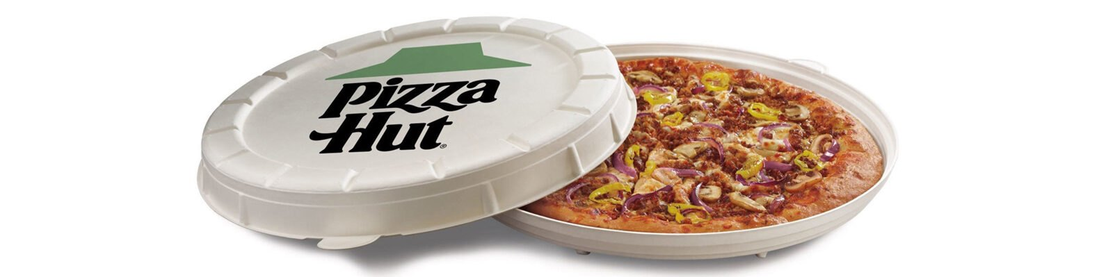 "veggie pizza in a compostable round container that reads, ""Pizza Hut"""