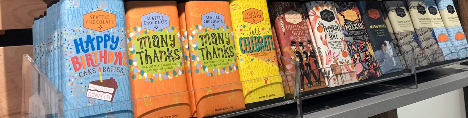 Seattle Chocolate candy bars on shelves