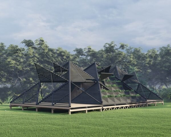 rendering of pyramid-shaped bamboo structure
