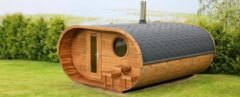 oval-shaped wooden sauna