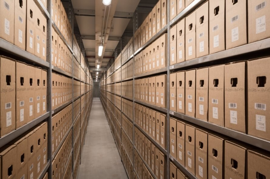aisles of brown boxes containing archived content for a city