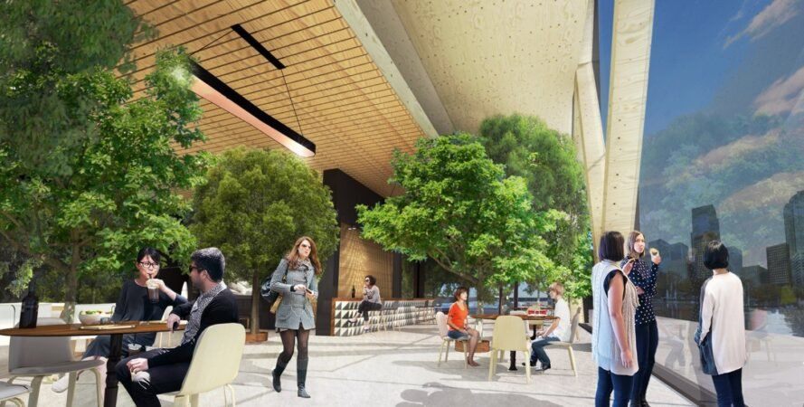 rendering of people walking through an indoor space with large trees
