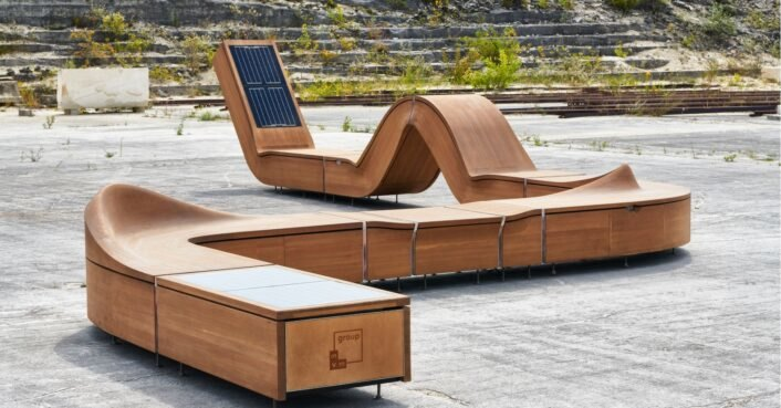 This smart furniture features solar-powered charging ports