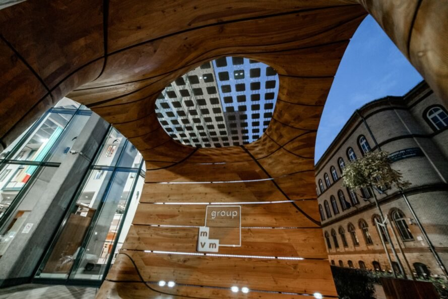 wood cube interior with solar-panel visible on roof