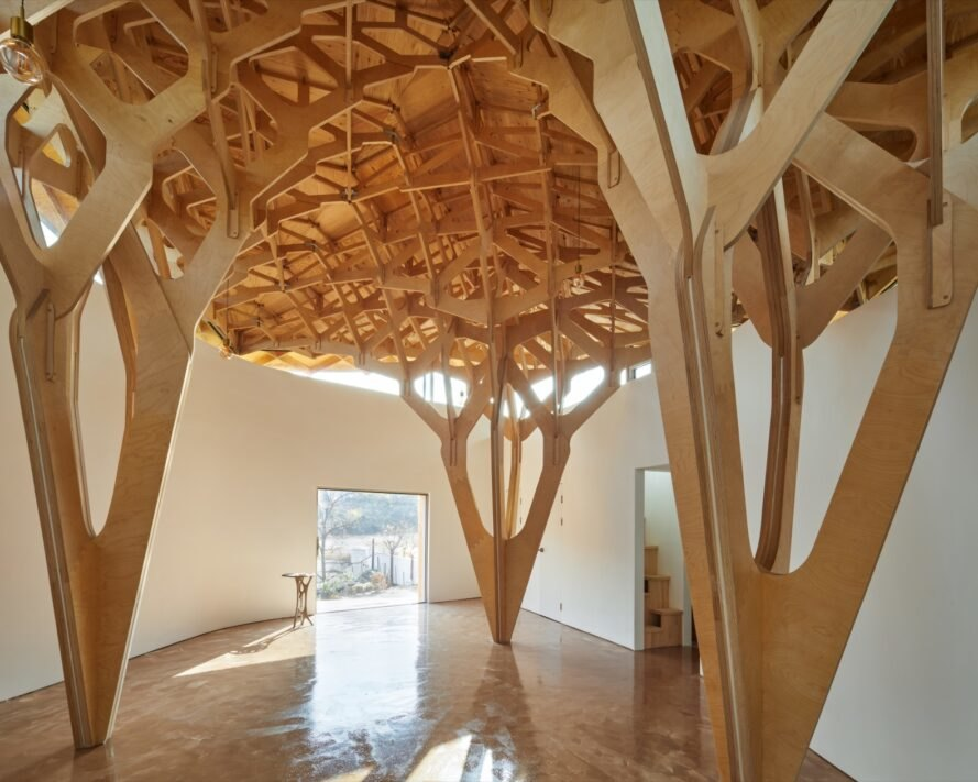 wooden support structures that look like trees inside a home