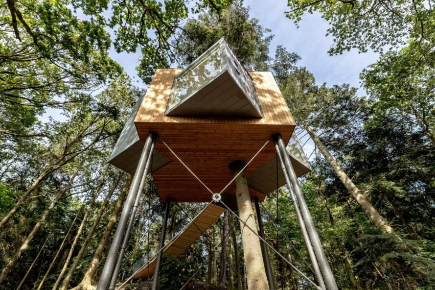 star-shaped treehouse in a forest