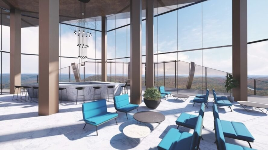blue chairs in room with glass walls