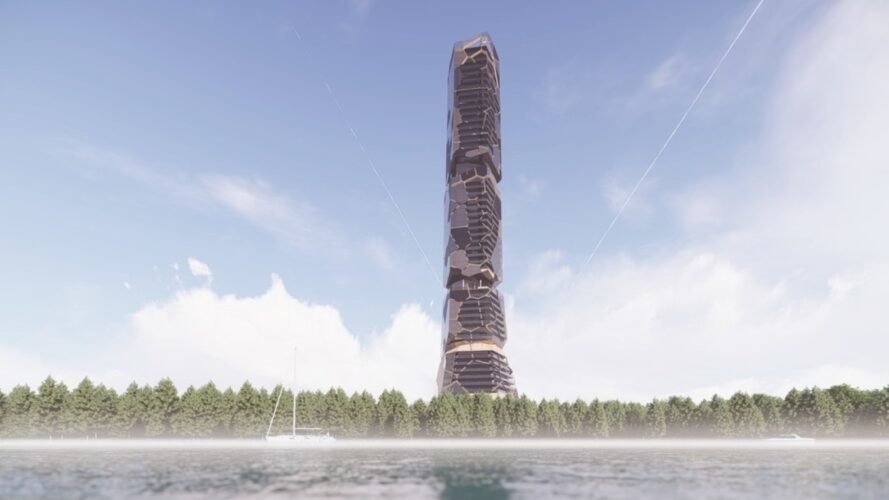 rendering of tower rising from a forest