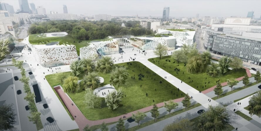 aerial rendering of lush urban green space next to a glass museum building