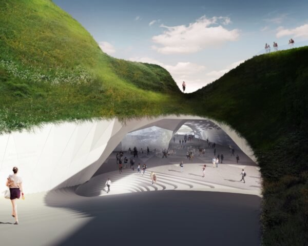 rendering of large opening covered in grass