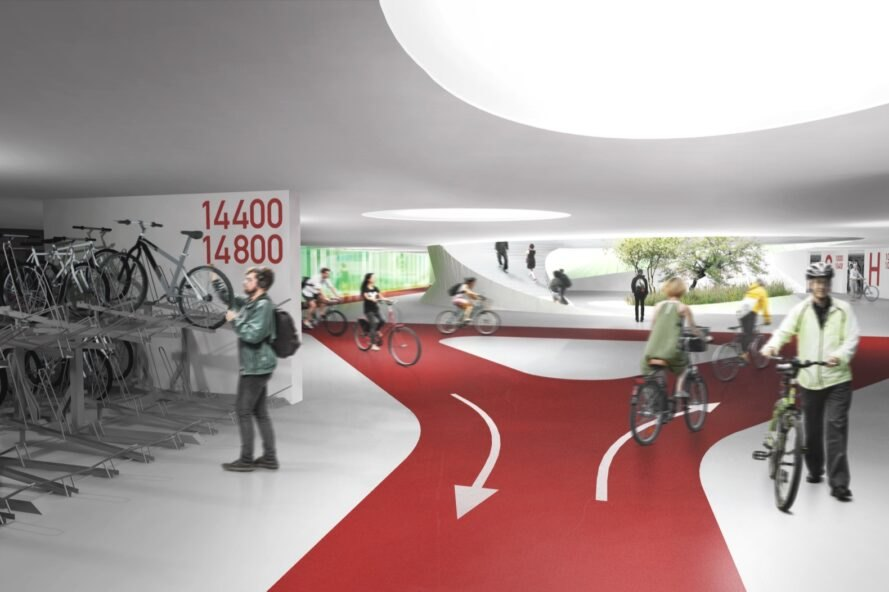 rendering of people riding bikes in bike lanes