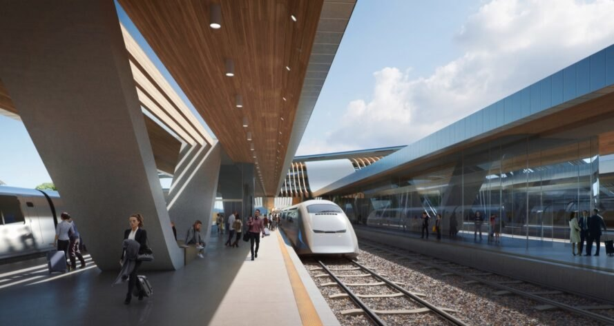 rendering of electric train boarding passengers