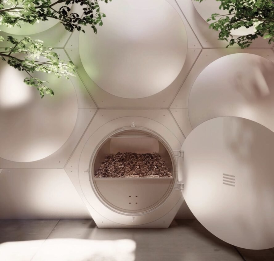 rendering of bubble-like pods used for human composting
