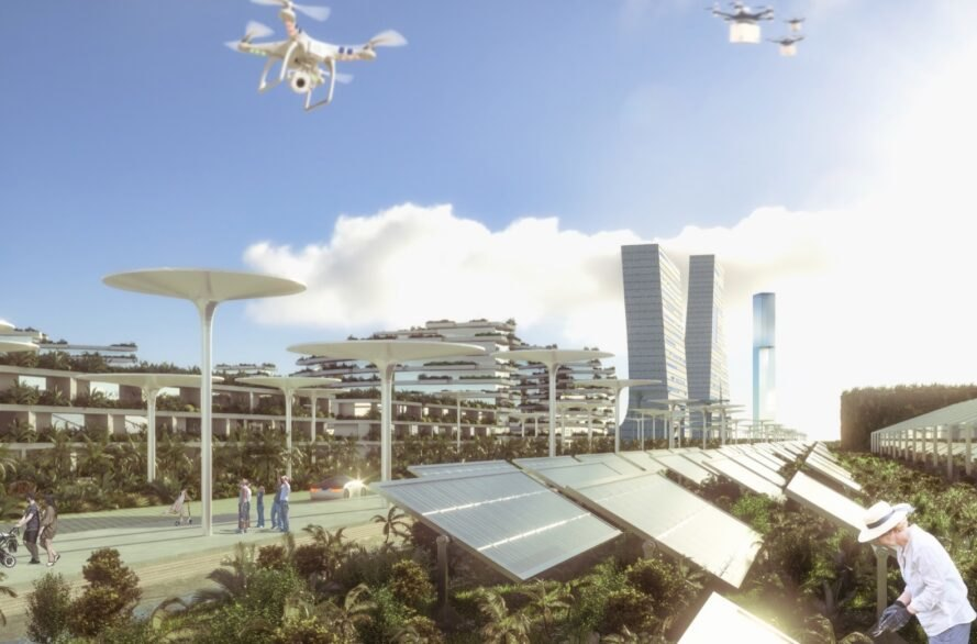 rendering of city with a few tall buildings and several solar panels