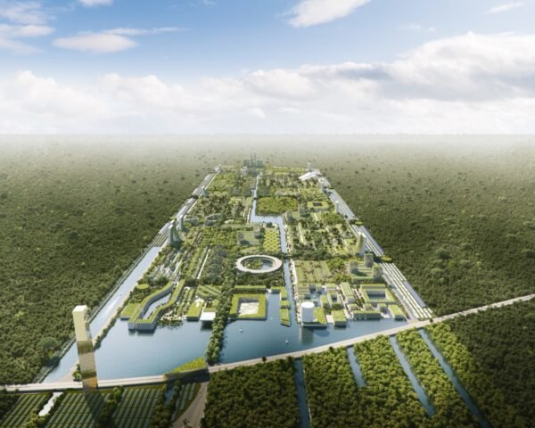 aerial rendering of city covered in greenery