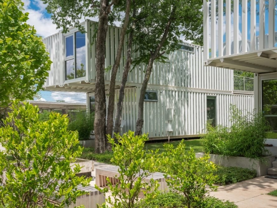 shipping container complex with greenery