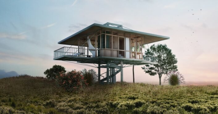 Prefab homes on stilts include solar panels, water collection systems and organic gardens