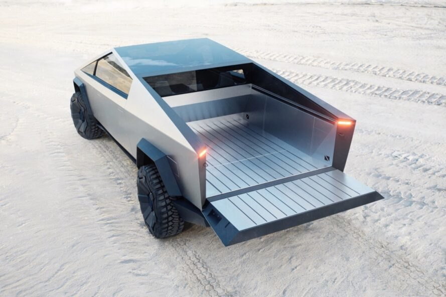 gray pickup truck with bed open