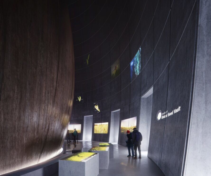 rendering of dark round room with digital exhibits on the walls