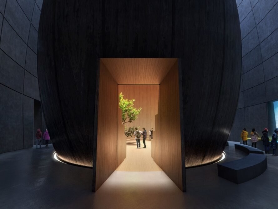 rendering of dark hallway leading to a bright wood room with a tree in the center