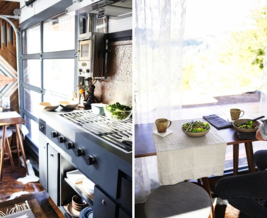 kitchen and dining space inside tiny home