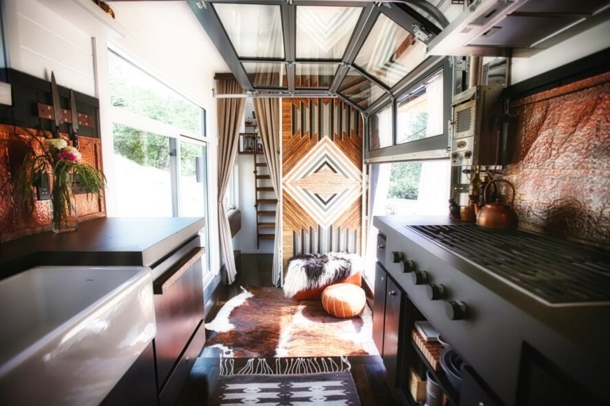 tiny home interior with boho design