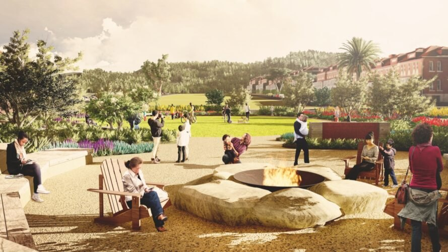 rendering of people around a fire pit in a park