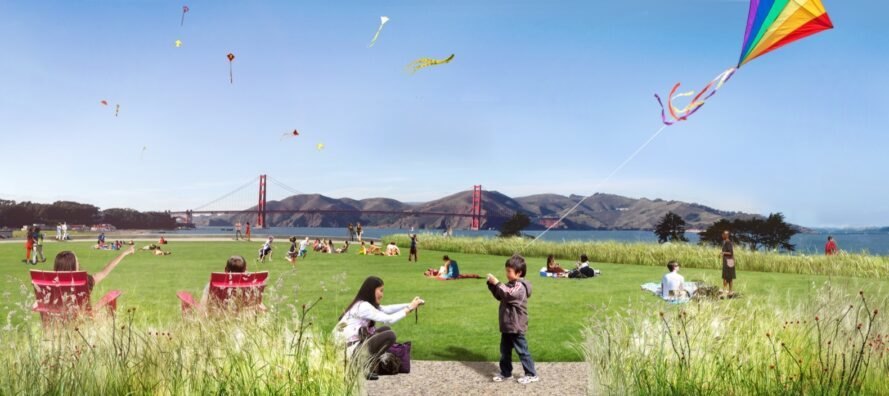 rendering of people flying kits with view of Golden Gate Bridge in the distance