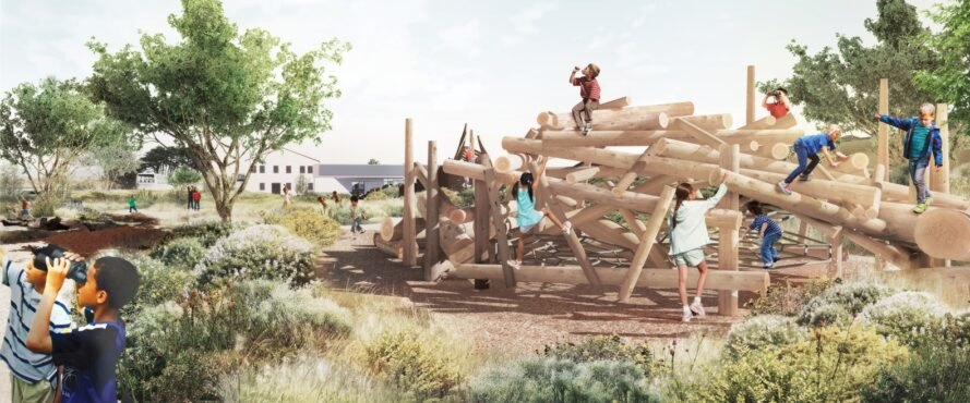 Rendering of children playing on a playground that mocks the appearance of a pile of logs