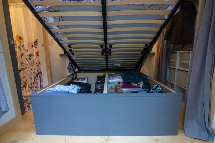 bed fully lifted with storage underneath