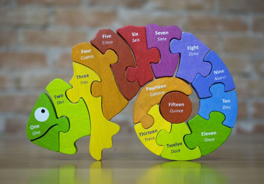 colorful wooden chameleon toy puzzle