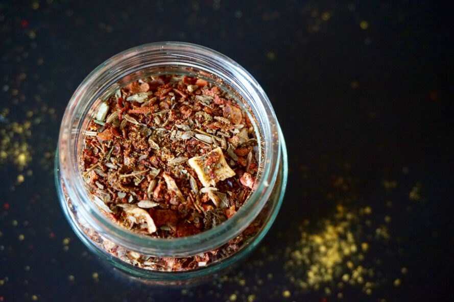 homemade spice blend in a glass jar