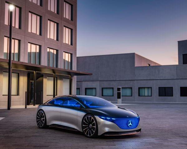 rendering of silver sports car with blue lights