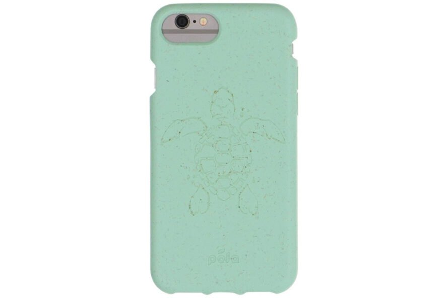 aqua-colored compostable phone case with image of a sea turtle on it