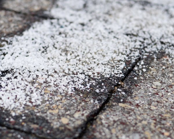 salt on a brick walkway