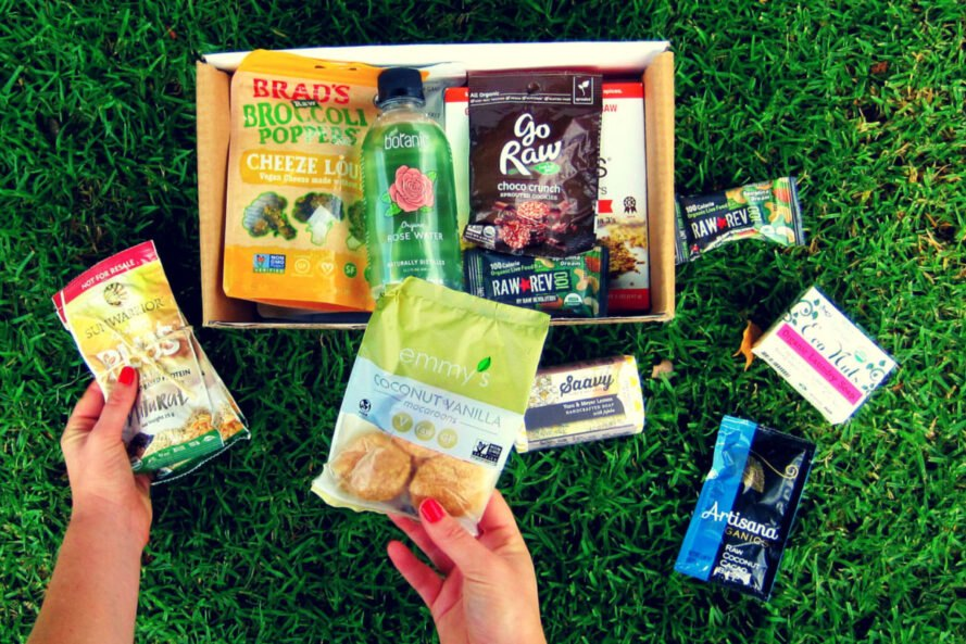 raw snack foods in a cardboard box