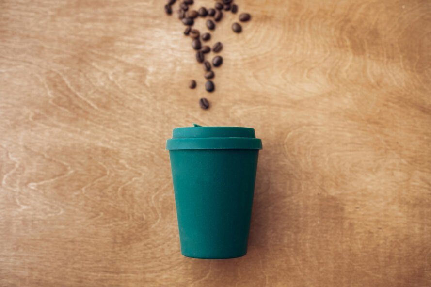 teal reusable coffee cup