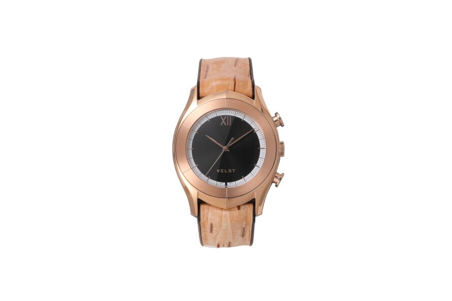 rose gold smartwatch on white background